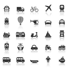 Transportation icons with reflect on white vector