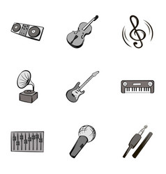 Melody icons set gray monochrome style vector