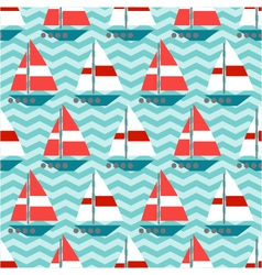 Seamless pattern with sailboats on the waves vector