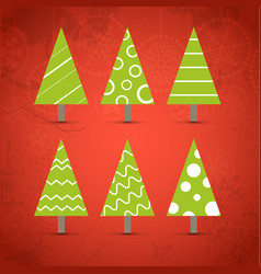 Six ornamented christmas trees collection vector