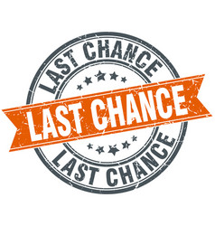 Last chance round orange grungy vintage isolated vector