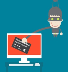 Thief credit card data from desktop cartoon vector
