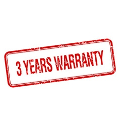 3 years warranty red square grungy vintage vector