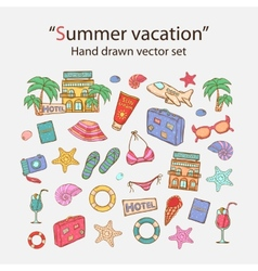 Summer vacation doodle set vector