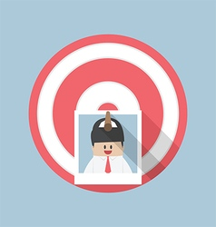 Businessman picture stick on target by arrow vector