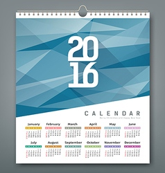 Calendar 2016 triangles geometric blue background vector