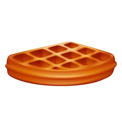 Piece of waffle on white vector