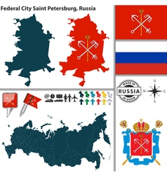 Map of Federal city Saint Petersburg vector image