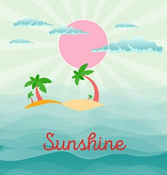 Summer beach scene sun clouds in the sky palms vector