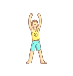 Man doing sun salutation yoga asana vector