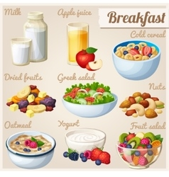 Breakfast 2 set of cartoon food icons vector