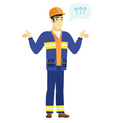 Asian confused builder with spread arms vector