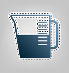 Beaker sign blue icon with outline for vector