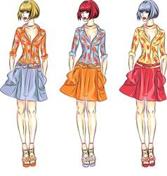 Beautiful fashion girls top models vector image vector image