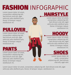 Black guy in sweater fashion infographic vector