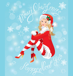 Blond pin up christmas girl wearing santa claus su vector