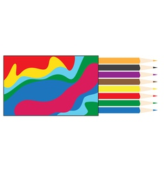 Box of colored pencils vector image