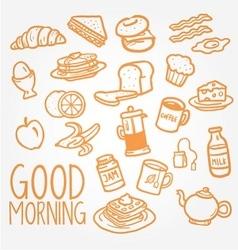 Breakfast doodle vector