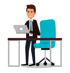 Businessman avatar in the office icon vector