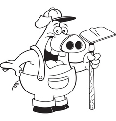 Cartoon pig wearing overhauls and holding a hoe vector