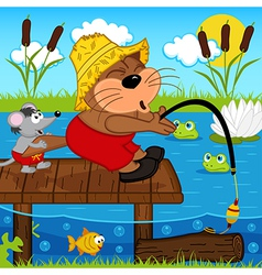 cat mouse fishing vector image vector image