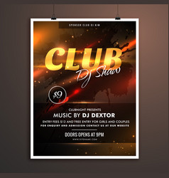 Club part promotional template with event details vector