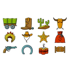 Cowboy and western icons set vector