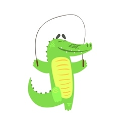 Crocodile jumping skipping rope humanized green vector