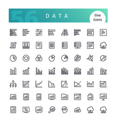 Data line icons set vector