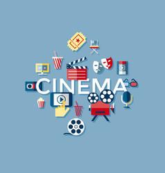 digital blue cinema icons vector image vector image