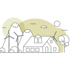 eco residential family house vector image