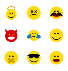 Flat icon emoji set of smile hush angel and vector