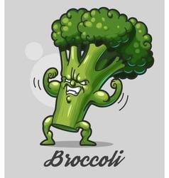 Funny cartoon broccoli vector image