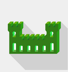 Green ancient fortress icon flat style vector