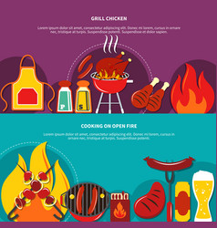 grill chiken and cooking on open fire flat vector image vector image