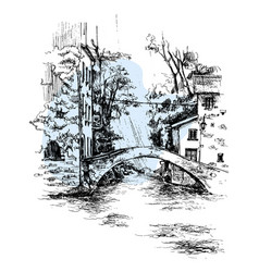 Hand drawn italy bridge bridge urban sketch vector
