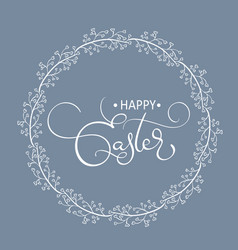 happy easter words in round frame background vector image vector image