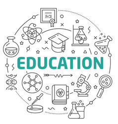 line flat circle education vector image vector image