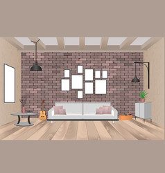 living room interior with furniture in hipster vector image