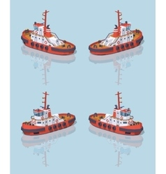 Low poly red and white tugboat vector