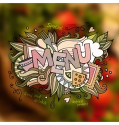 Menu hand lettering and doodles elements vector image