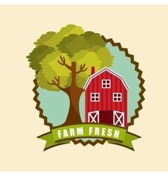 Red barn icon vector
