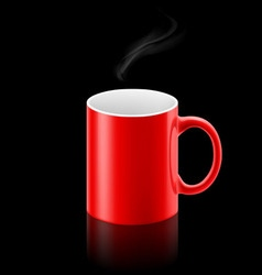 Red mug on black background vector image vector image