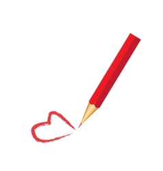 red pencil and red heart vector image vector image