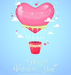 Romantic heart shaped air balloon retro postcard vector image vector image