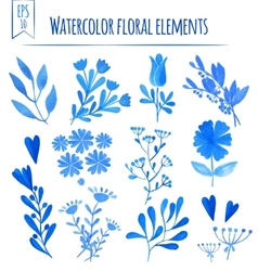 Set of colorful blue leaves vector image vector image
