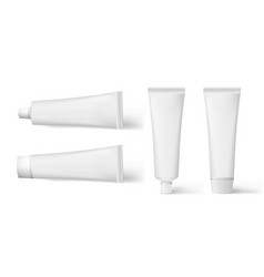 set of realistic cosmetic white cream tube set of vector image vector image