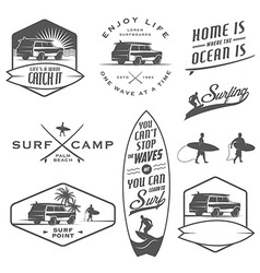 Set of vintage surfing design elements vector image vector image