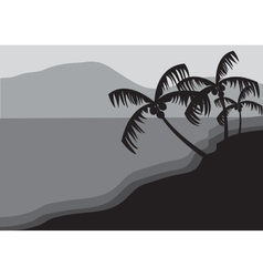 Silhouettes of palm trees on the beach vector