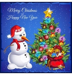Snowman with Christmas tree with colorful gifts vector image